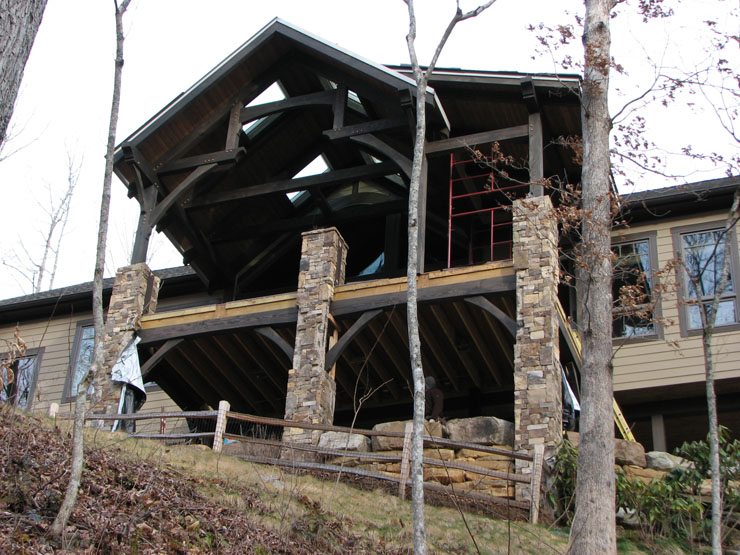 Covered porch addition timberframe horizons for Timber frame porch addition